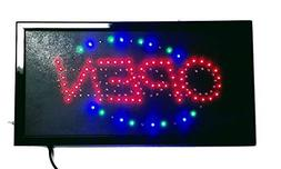 """LED""""Open & Closed"""" 2-in-1 Multi Color Sign with On/off and C"""