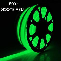 100' Green LED Neon Rope Light 110V In/Outdoor Commercial Si
