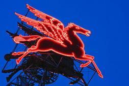 103636 Neon Pegasus Sign Under Dusk Sky Dallas Texas Decor L