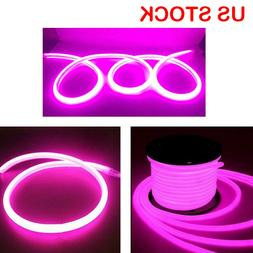 110V 360° LED Neon Rope Light Pink DIY AD Sign Home Decor O