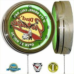 DADS GARAGE 15 NEON LIGHT WALL CLOCK MAN CAVE WORKSHOP TIN M