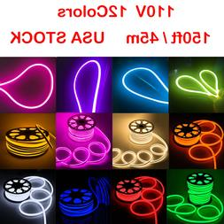 150' LED Neon Rope Light Flex Tube Xmas KTV Commercial DIY S