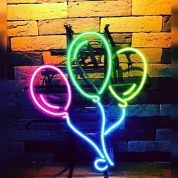 "17""x14""Three Balloons Neon Sign Light Man Cave Room Wall Han"