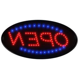 "19""×10"" Neon Animated LED Business Sign OPEN Light Bar Stor"