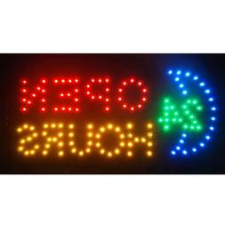 "19""x10"" Flashing LED Neon Business Sign 24 Hours Open Light"