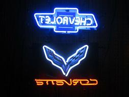 2 Neon signs Chevy bowtie and Corvette C7 racing Flags Chevr