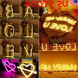 26 Letters LED Neon Sign Night Light Lamp Wall Bar Club Back