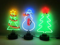 3 Holiday Neon sign Sculptures Christmas tree snowman Window