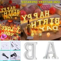 3D Letter LED Night Lights Neon Sign Light Table Desk Lamp H