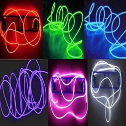 6 Pack - TDLTEK Neon Glowing Strobing Electroluminescent Wir
