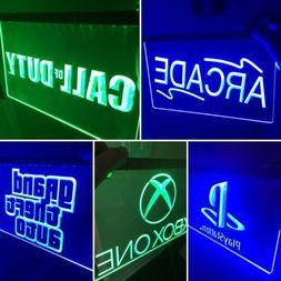Arcade Set 5 LED Neon Signs PS4, Nintendo, Game Room, Playst