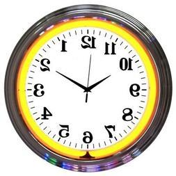 "Best Orange Neon clock sign 15"" new wall  lamp light Neoneti"