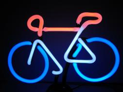 Bicycle Neon Sign Sculpture Light Table, Bar, Desk Lamp Grea