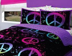 Black Purple Pink Peace Sign Queen Girls Comforter Set