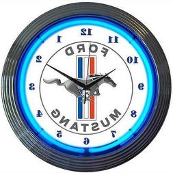 Blue Ford Mustang Since 1964 neon clock sign GT Man Cave 50t