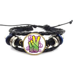 Bright Neon Peace Sign Glass Cabochon Bracelet Braided Leath