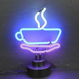 Coffee mug cup neon sign sculpture art table glass lamp Java