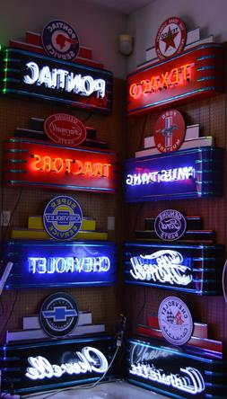 Collection of EIGHT Art Deco Neon Signs Ford GM garage manca