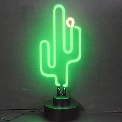Desert Green Cactus flower neon sign sculpture table shelf n