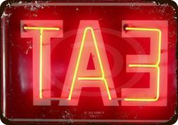 EAT Neon Vintage Look Reproduction Metal Sign 8x12 made USA