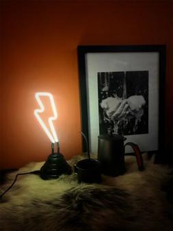 Faint Yellow Lightening Neon Sign Sculpture Desk Decor USB I