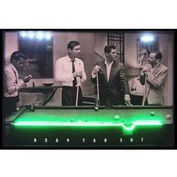Framed Neon LED Sign Rat Pack Las Vegas Pool Table Billiards