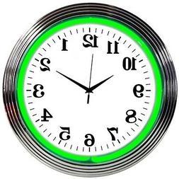 Green NEON clock chrome finish sign Garage Kitchen wall lamp
