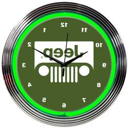 Jeep Neon clock sign Green wall lamp Willys all american leg