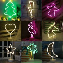 LED Unicorn Neon Sign Lamp Coconut Tree Night Light Xmas Par