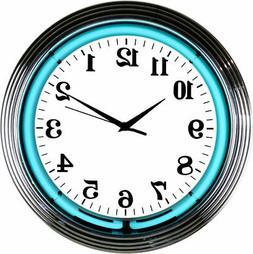 Aquamarine Neon clock Teal chrome finish sign wall lamp ligh