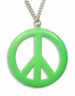 Large Peace Sign Neon Lime Green Enamel Finish Pewter Pendan