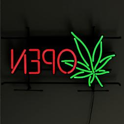 Large Ultra Bright LED Cannabis OPEN Sign Marijuana Weed bus