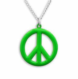 Medium Peace Sign Neon Lime Green Enamel Finish Pewter Penda