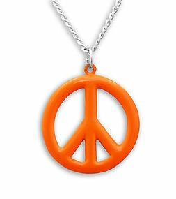 Medium Peace Sign Neon Orange Enamel Finish Pewter Pendant N