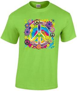 Neon Peace Sign Smiley Faces Flower T-Shirt