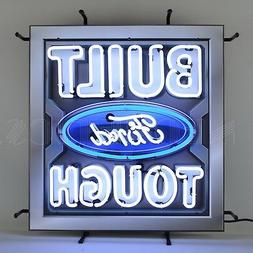 Neon sign Built Ford Tough oval metal grid Truck F-150 F-250