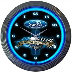 Neon Clock Powered by Ford wall lamp light sign Blue Oval OL