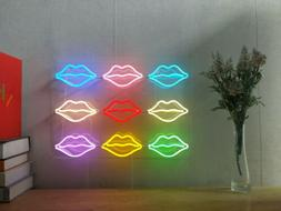 New 9 Lips Neon Sign For Bedroom Wall Art Home Decor Artwork