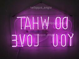 New Do What You Love Purple Bar Pub Wall Decor Acrylic Neon