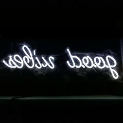 New Good Vibes White Color Acrylic Back Neon Light Sign 14""