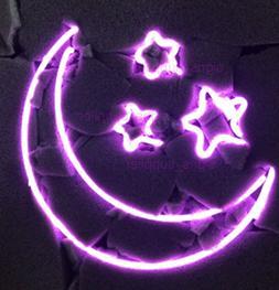 "New Moon Stars Purple Pub Acrylic Neon Light Sign 20"""