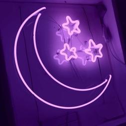 New Moon Three Stars Purple Neon Sign Wall Decor Artwork Lig