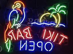 """New TiKi Bar Open Parrot Bar Neon Light Sign 20""""x16"""""""