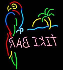 "New Tiki Bar Parrot Palm Tree Neon Sign 20""x16"""