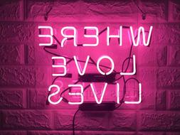 New Where Love Lives Acrylic Lamp Artwork Poster Pink Neon L