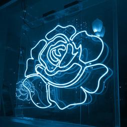 New White Rose Acrylic Lamp Bar Artwork Neon Light Sign 19""