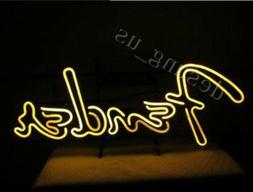 New Yellow Fender Guitar Light Bar Pub Real Glass Neon Sign