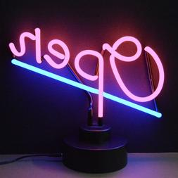 Open Neon sign Sculpture Hand blown glass in a base sits on