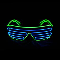 PINFOX Glow Shutter Neon Rave Flashing Glasses El Wire LED S