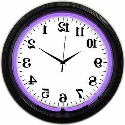 Purple  NEON Black Matt  finish neon clock sign Garage open